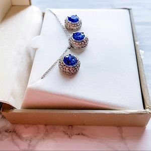 Swarovski Crystal Necklace & Earring Set blue